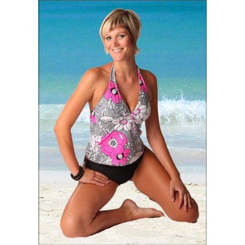 mtp bauch weg push up tankini badeanzug in schwarz pink gr 38 50 express ebay. Black Bedroom Furniture Sets. Home Design Ideas